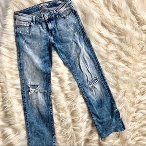 Mavi Emma slim boyfriend jeans with tie dye bleach